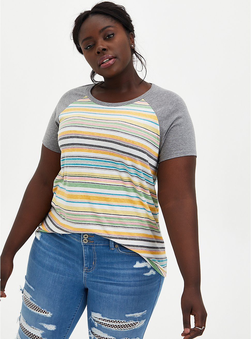 Raglan Tee - Triblend Jersey Multi Stripe, OTHER PRINTS, hi-res