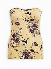 Yellow Floral Foxy Sweetheart Tube Top, OTHER PRINTS, hi-res