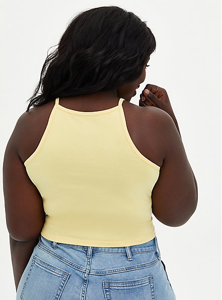 Yellow High Neck Foxy Crop Top, SUNDRESS, alternate