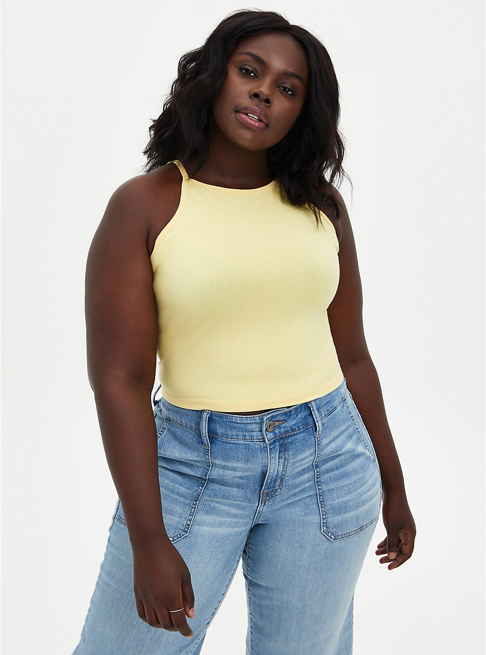 Yellow High Neck Foxy Crop Top, SUNDRESS, hi-res