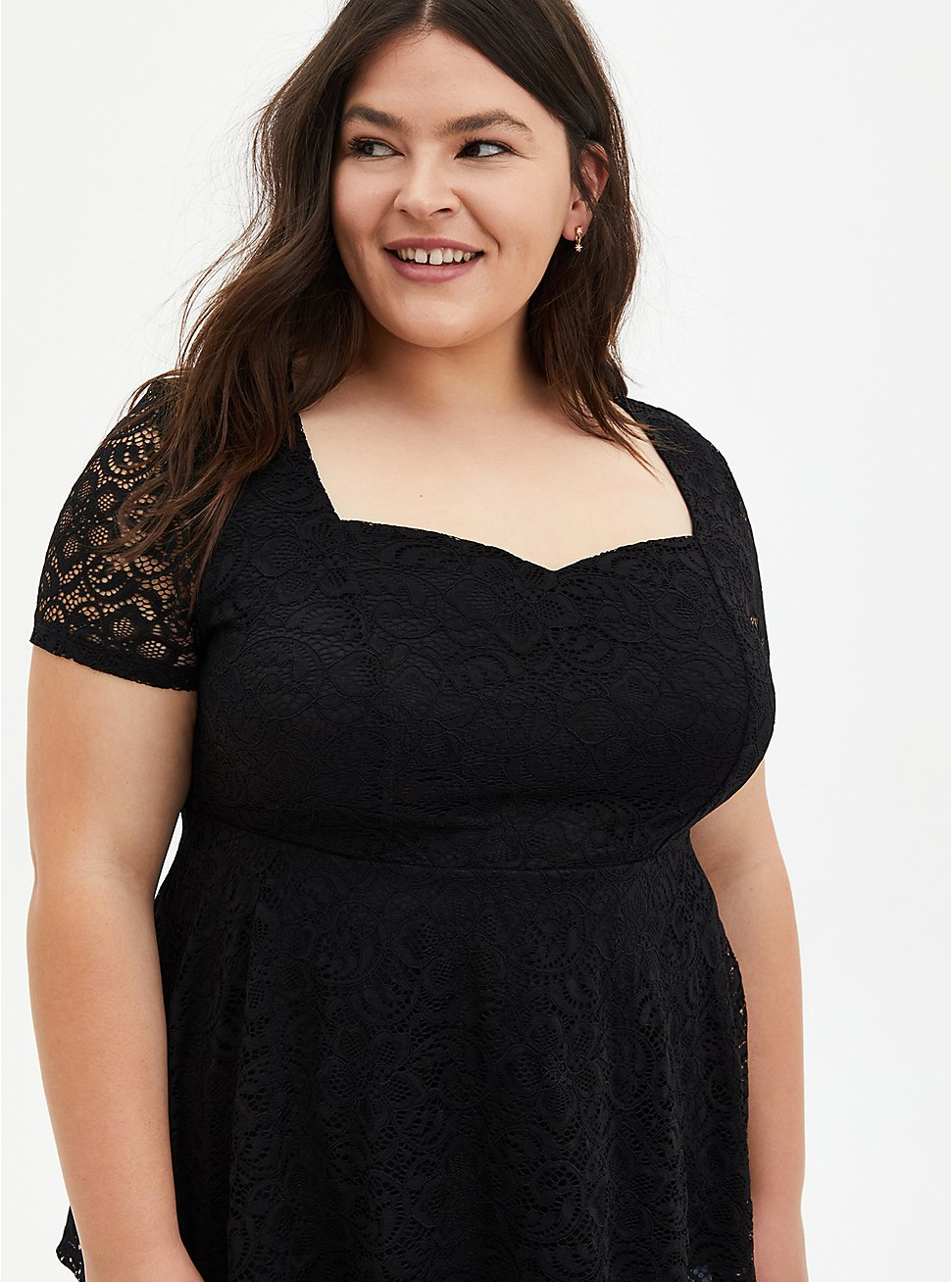 Black Lace Sweetheart Off Shoulder Top, DEEP BLACK, hi-res