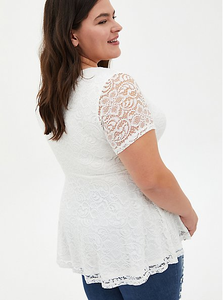White Lace Sweetheart Off Shoulder Top, BRIGHT WHITE, alternate