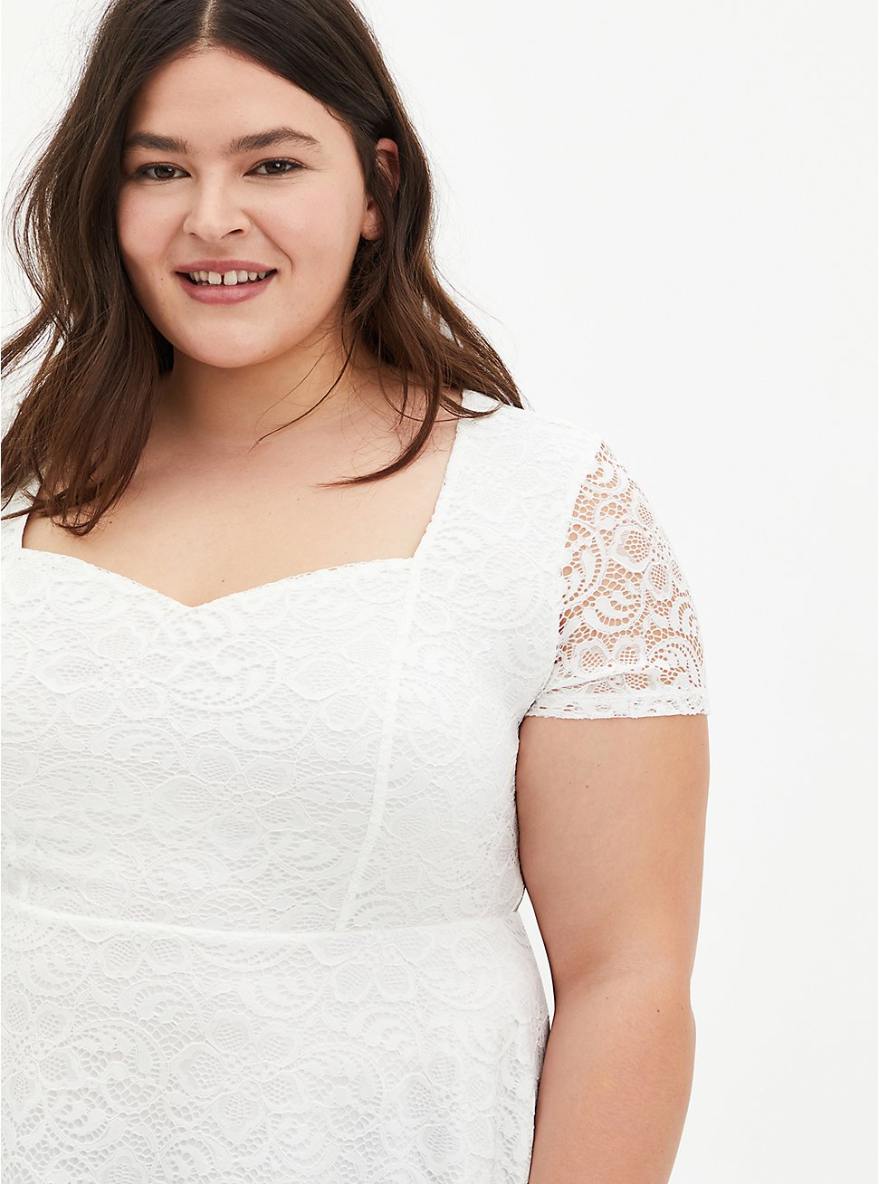 White Lace Sweetheart Off Shoulder Top, BRIGHT WHITE, hi-res