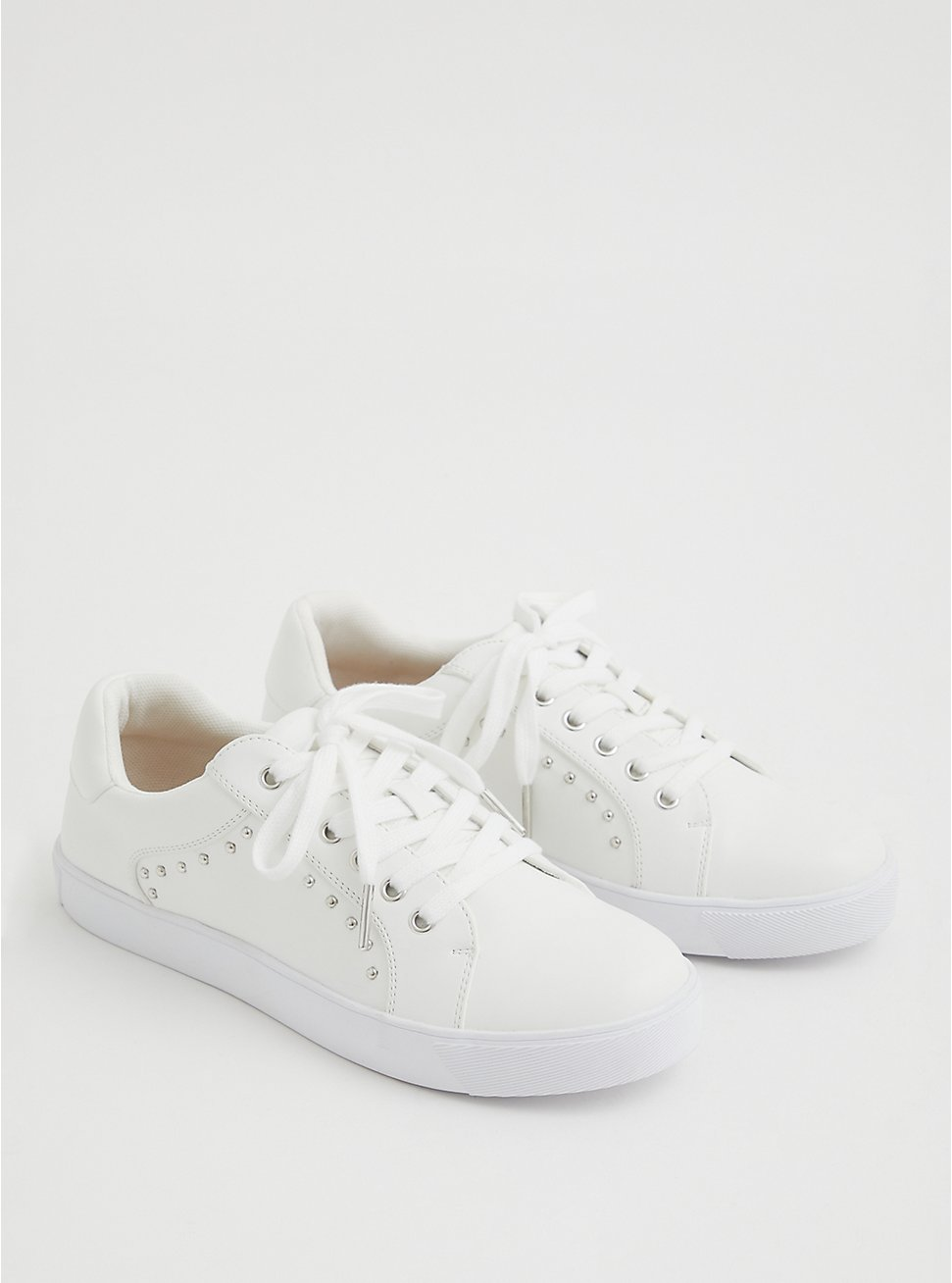 White Faux Leather Studded Lace-Up Sneaker (WW), WHITE, hi-res
