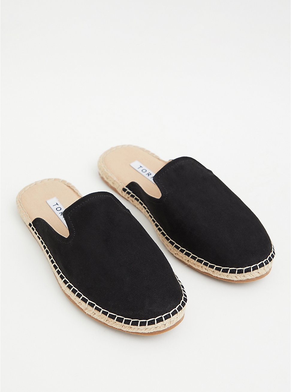 Black Faux Suede Espadrille Mule (WW), BLACK, hi-res