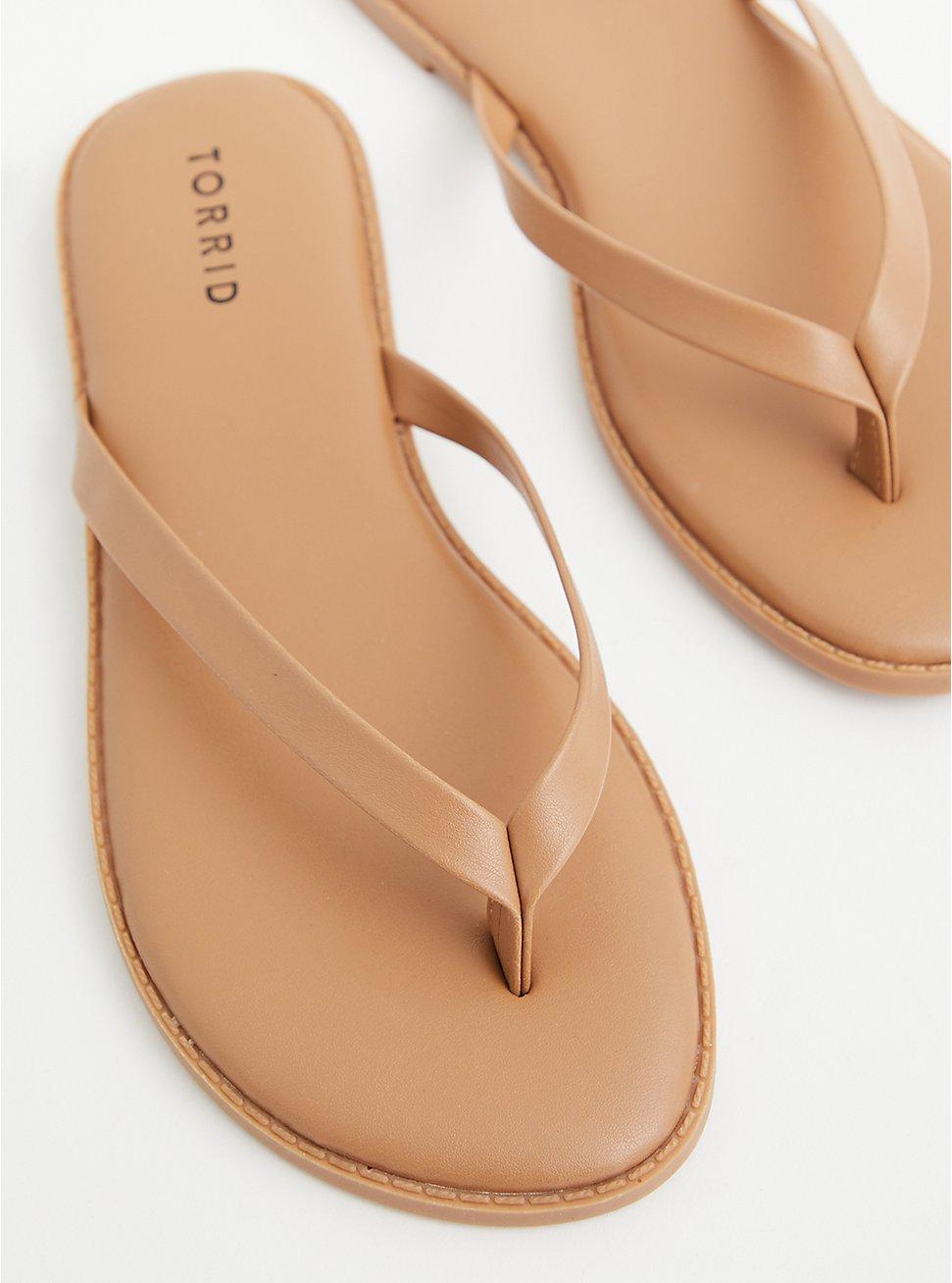 Sunnie - Light Brown Faux Leather Flip Flop (WW), COGNAC, hi-res