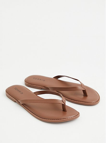 Sunnie - Brown Faux Leather Flip Flop (WW), BROWN, alternate