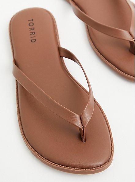 Sunnie - Brown Faux Leather Flip Flop (WW), BROWN, hi-res