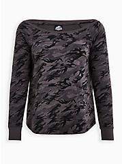 Jurassic World Camo Off-Shoulder Sweatshirt, CAMO BLACK, hi-res
