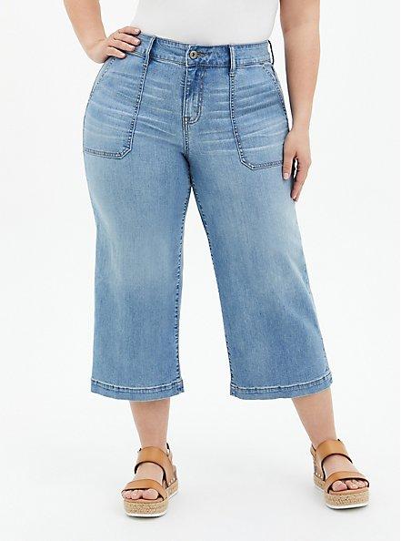 Crop High Rise Wide Leg Jean - Vintage Stretch Light Wash, UNDONE, hi-res
