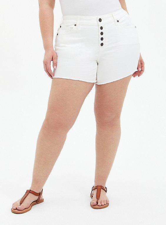 Plus Size Mid Rise Midi Short - Vintage Stretch White, WINTER WHITE, hi-res