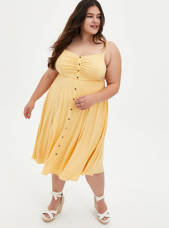 Yellow Woven Button Front Midi Dress, SUNDRESS, hi-res