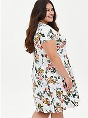 Super Soft Plush Ivory Floral Trapeze Dress, FLORAL - IVORY, alternate