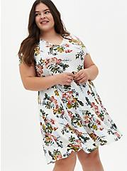 Super Soft Plush Ivory Floral Trapeze Dress, FLORAL - IVORY, hi-res