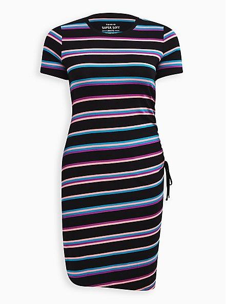 Super Soft Black Neon Stripe T-Shirt Dress, STRIPE - MULTI, hi-res