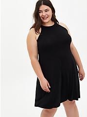 Super Soft Black Mini Trapeze Dress, DEEP BLACK, hi-res
