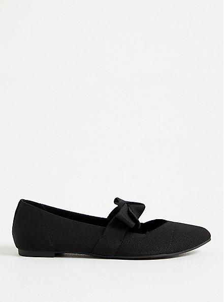 Black Stretch Knit Mary Jane Bow Flat (WW), BLACK, alternate