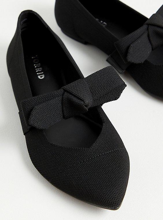 Black Stretch Knit Mary Jane Bow Flat (WW), BLACK, hi-res