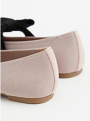 Plus Size Beige Stretch Knit Mary Jane Bow Flat (WW), TAUPE, alternate