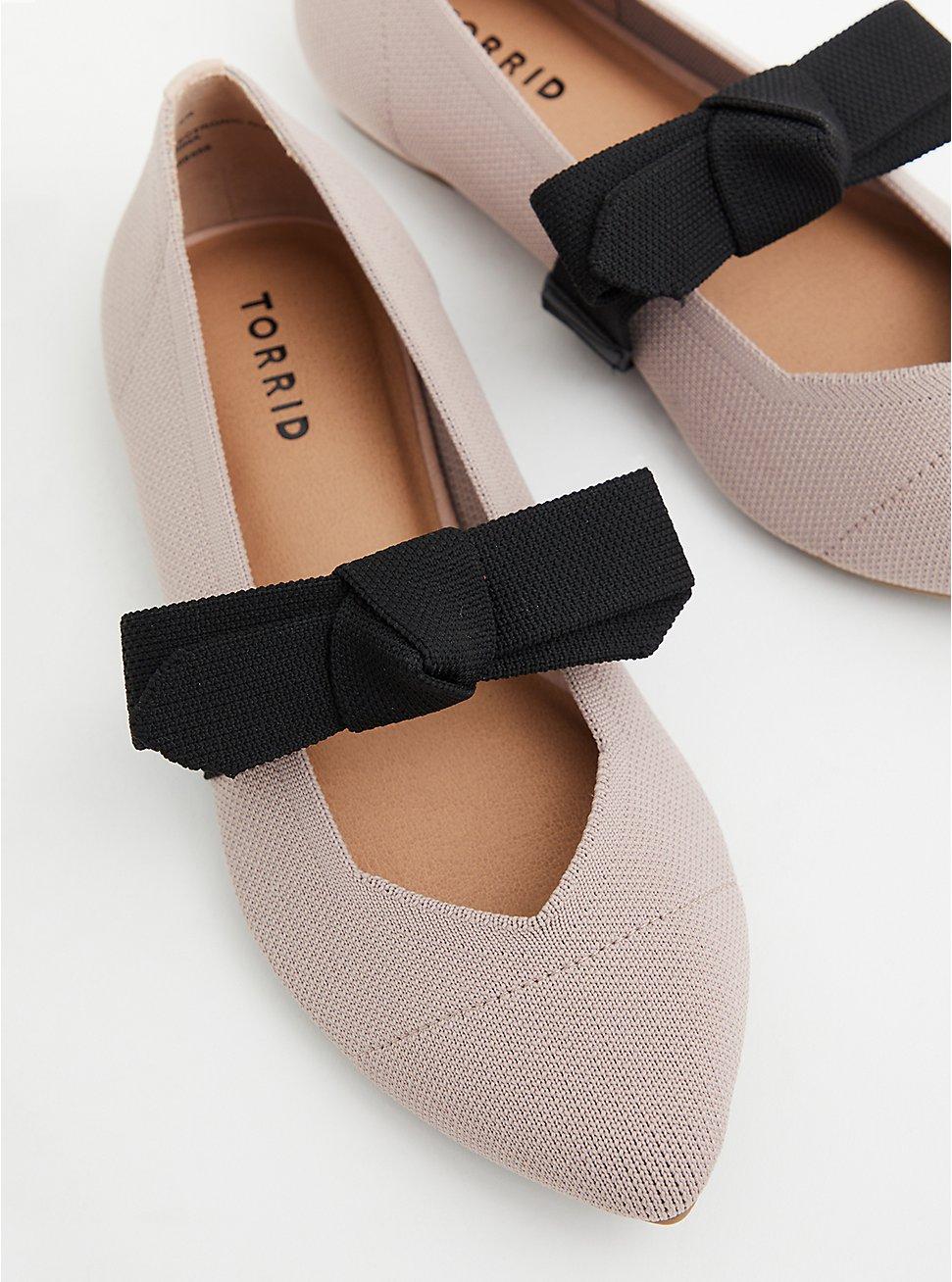 Plus Size Beige Stretch Knit Mary Jane Bow Flat (WW), TAUPE, hi-res