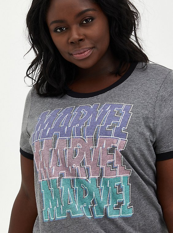 Marvel Logo Ringer Top, HEATHER GREY, hi-res