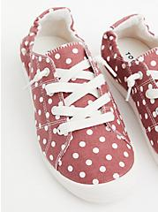 Riley - Marsala Red Polka Dot Canvas Sneaker (WW), MAUVE  ROSE, alternate