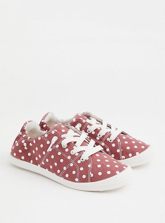 Riley - Marsala Red Polka Dot Canvas Sneaker (WW), MAUVE  ROSE, hi-res