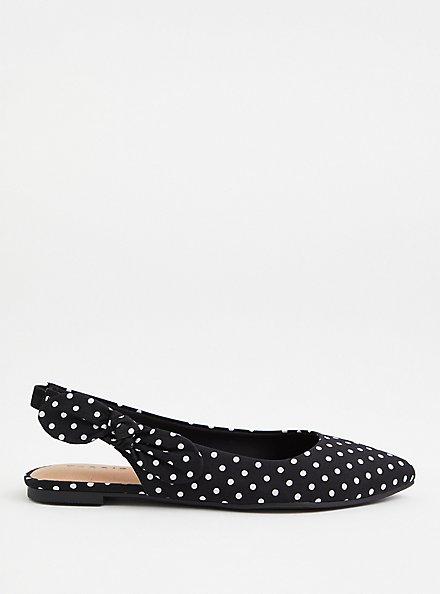 Black Polka Dot Slingback Flat (WW), BLACK-WHITE DOT, alternate