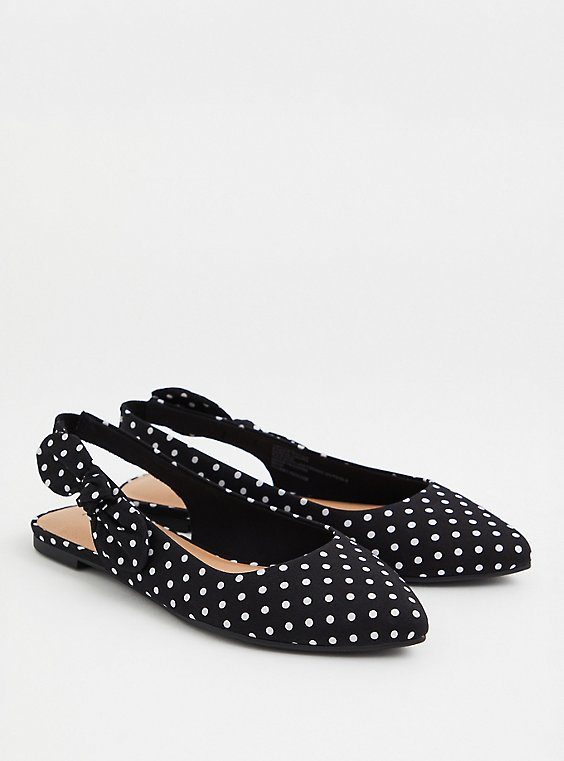 Black Polka Dot Slingback Flat (WW), BLACK-WHITE DOT, hi-res