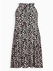 Plus Size Super Soft Leopard Mini Trapeze Dress, LEOPARD, hi-res