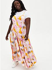 Multi Watercolor Tie-Dye Challis Trapeze Maxi Dress, TIE DYE, alternate