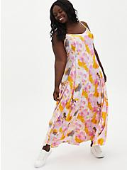 Multi Watercolor Tie-Dye Challis Trapeze Maxi Dress, TIE DYE, hi-res