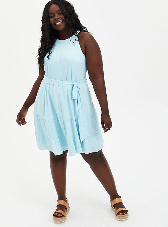 Blue Woven Tiered Mini Dress, ICED AQUA, hi-res