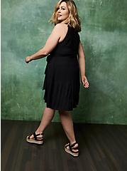Black Woven Tiered Mini Dress, DEEP BLACK, alternate