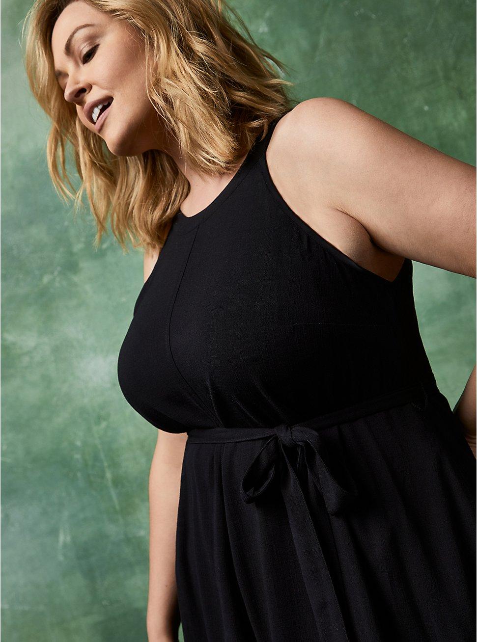 Black Woven Tiered Mini Dress, DEEP BLACK, hi-res