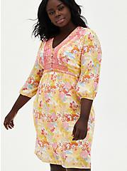 Peach Floral Gauze Hi-Lo Dress, FLORALS-PEACH, alternate