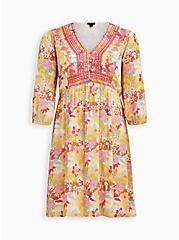 Peach Floral Gauze Hi-Lo Dress, FLORALS-PEACH, hi-res