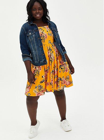 Super Soft Yellow Floral Off Shoulder Skater Dress, FLORALS-YELLOW, alternate