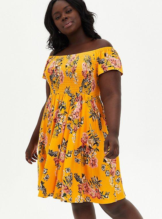 Super Soft Yellow Floral Off Shoulder Skater Dress, FLORALS-YELLOW, hi-res