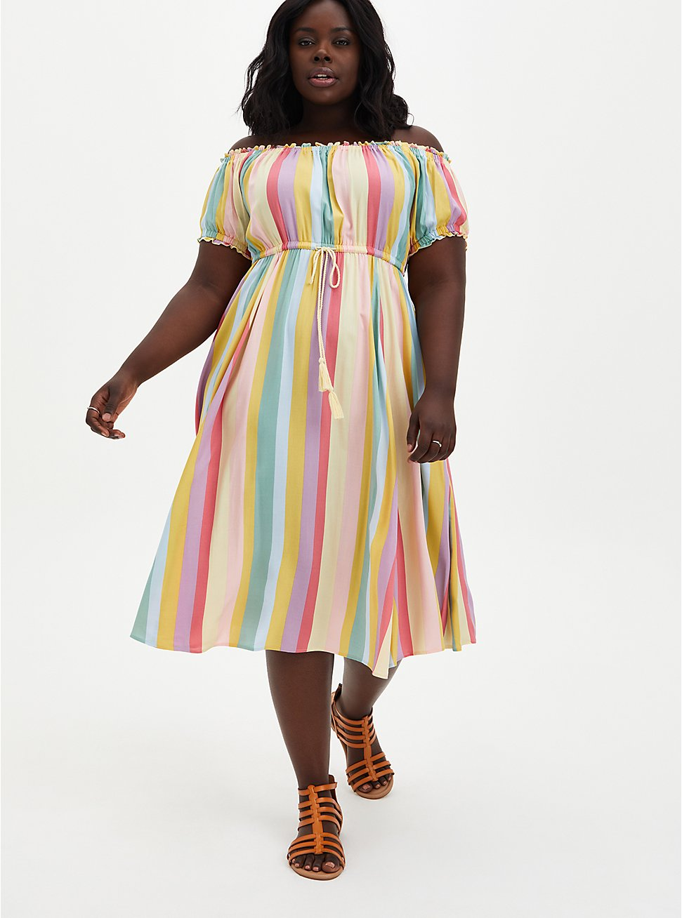 Multi Stripe Challis Off Shoulder Midi Skater Dress, STRIPE - MULTI, hi-res