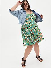 Green Floral Challis Fit & Flare Cami Dress, FLORALS-GREEN, alternate