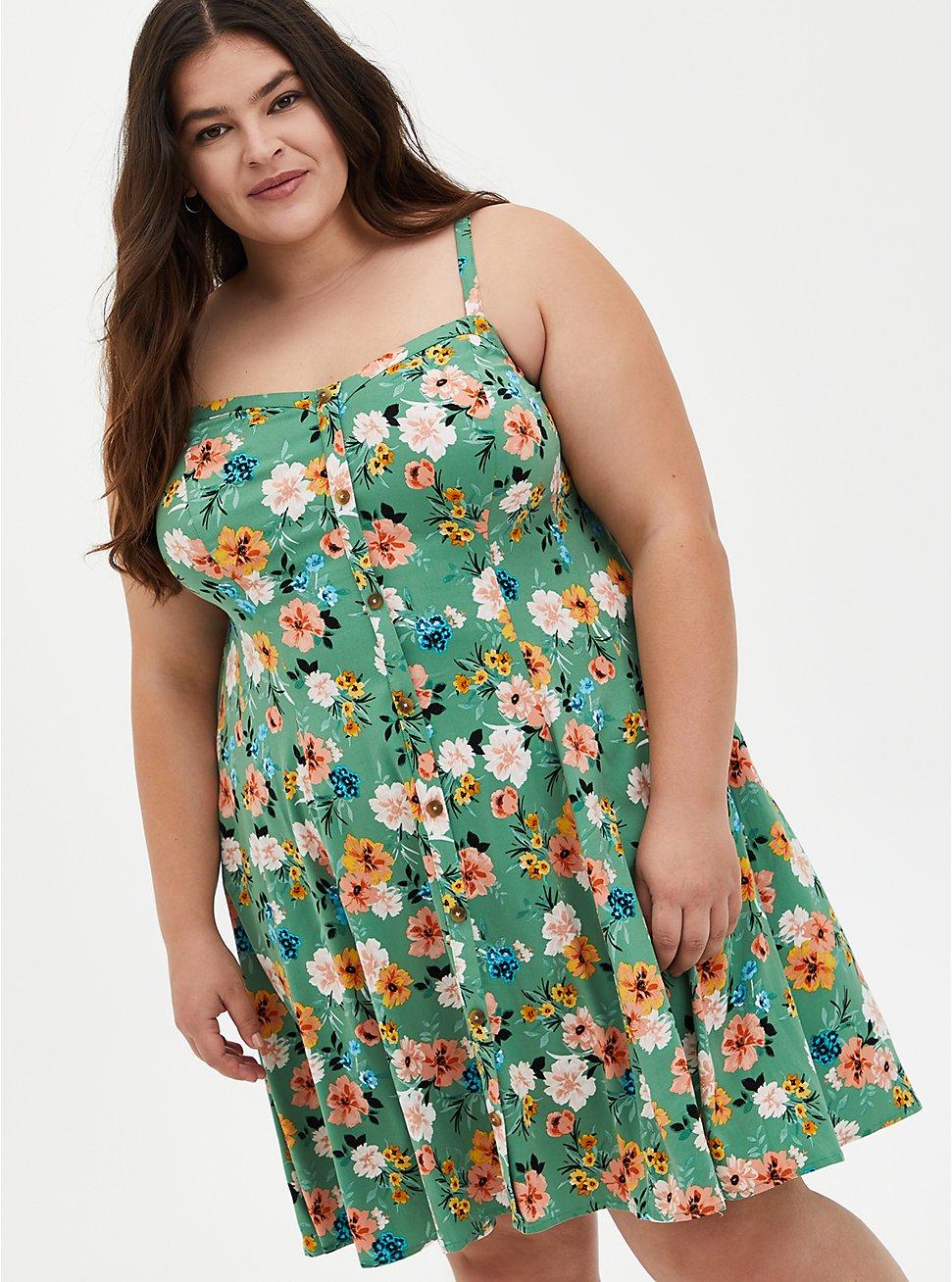 Green Floral Challis Fit & Flare Cami Dress, FLORALS-GREEN, hi-res