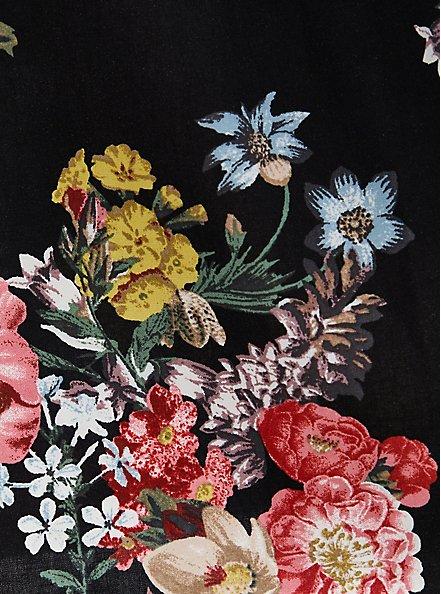 Black Floral Challis Off-Shoulder Skater Dress, FLORALS-BLACK, alternate