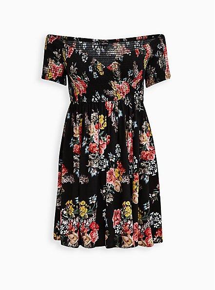 Black Floral Challis Off-Shoulder Skater Dress, FLORALS-BLACK, hi-res