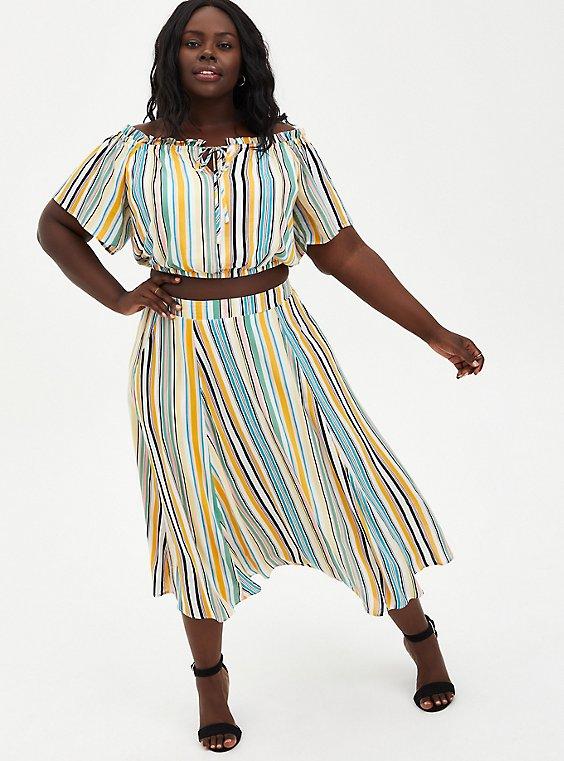 Multi Stripe Off-Shoulder Gauze Skirt Set, STRIPE - MULTI, hi-res