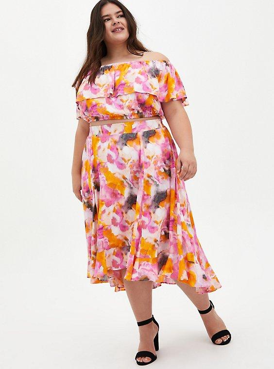Multi Watercolor Tie-Dye Off Shoulder Skirt Set, , hi-res
