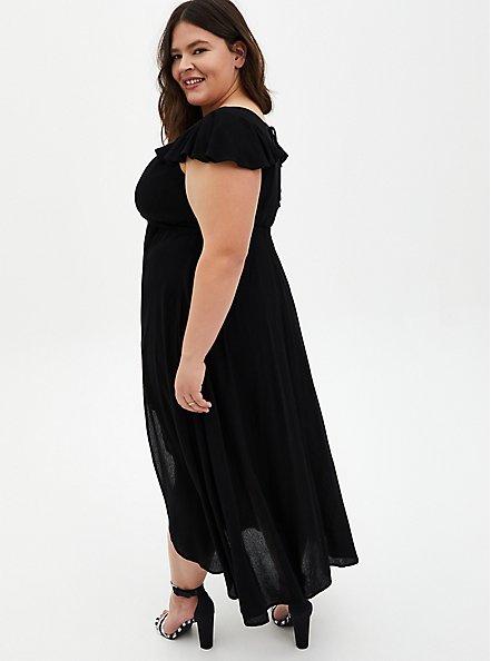Black Gauze Walk Through Maxi Dress, DEEP BLACK, alternate
