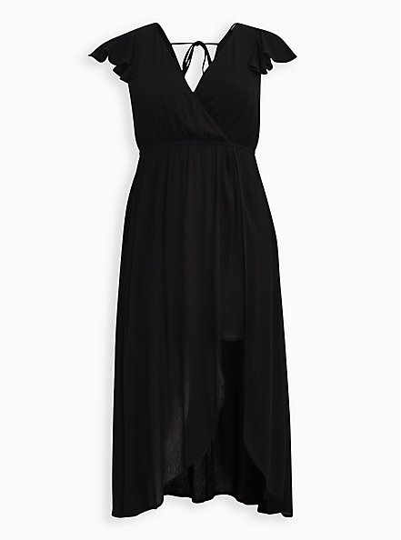 Black Gauze Walk Through Maxi Dress, DEEP BLACK, hi-res