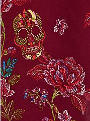 Red Floral Challis Fit & Flare Midi Dress, FLORALS-BURGUNDY, alternate