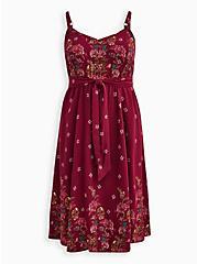 Red Floral Challis Fit & Flare Midi Dress, FLORALS-BURGUNDY, hi-res